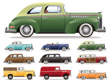 1940s Car Lineup Vector Set