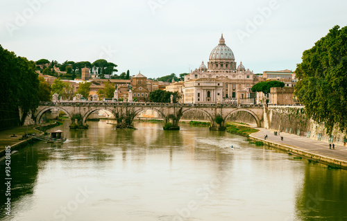 Recess Fitting Rome view of Basilica St Peter and river Tiber in Rome. Italy