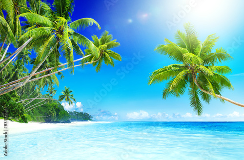 Tropical Paradise Beach Seascape Travel Destination Concept Canvas Print