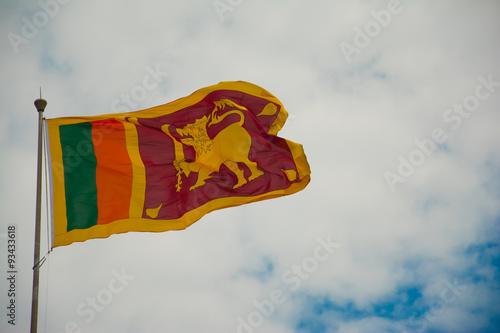 Fotografie, Obraz  Sri Lankan national flag waving in the wind