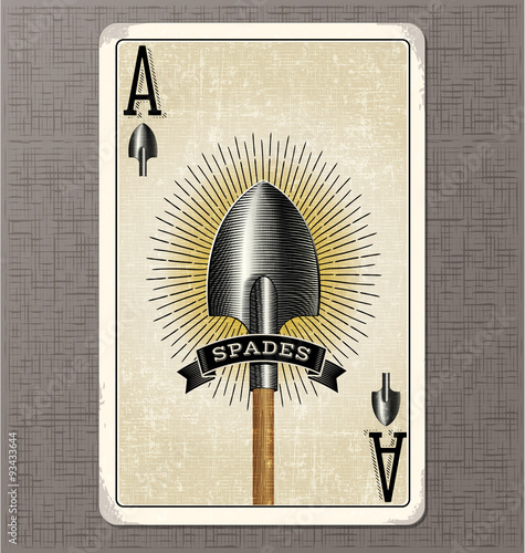 Photo  vintage playing card vector illustration of the ace of spades