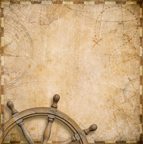 Canvas Prints Ship old nautical map with steering wheel