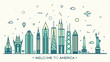 United States America skyline vector linear style