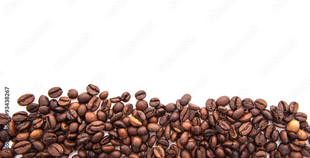 Roasted coffee beans. All on white background