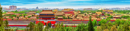 Photo Stands Beijing Jingshan Park,panorama above on the Forbidden City, Beijing.