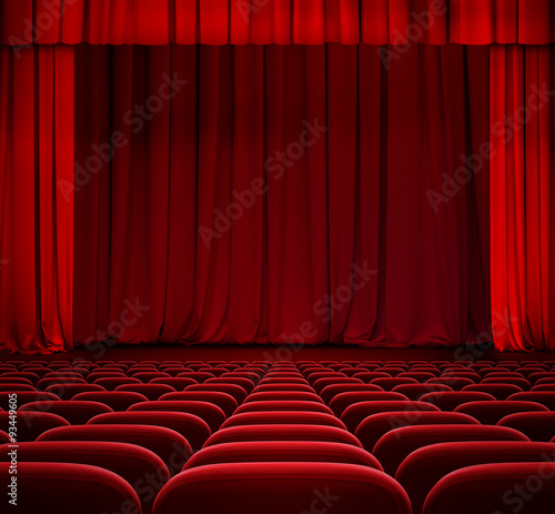 In de dag Theater red curtain on theater stage with red velvet seats