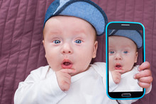 Baby Boy Taking Selfie With A ...