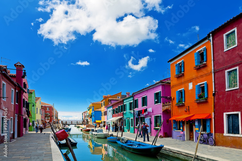 Venice landmark, Burano island, colorful houses and boats, Venice, Italy Wallpaper Mural