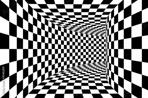 Fotografie, Obraz  Black and White Checkered Square Walled Tunnel Abstract Background