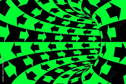 Valokuva  Download/Upload Concept - Green Glowing Arrows Tunnel Background