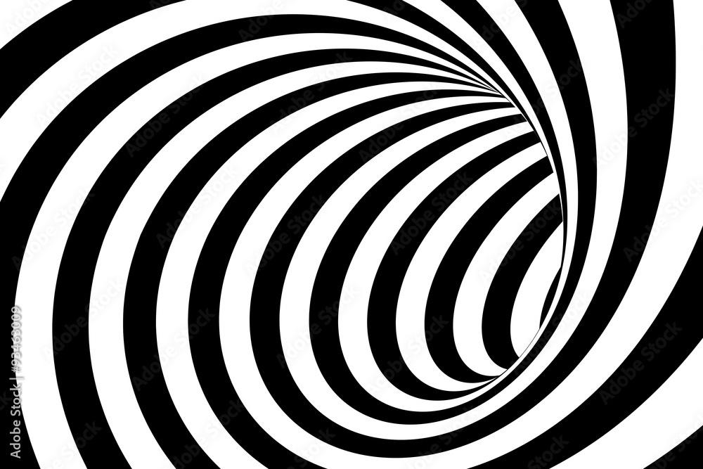 Czarny I Biały Wirujący Linia Tunelu Abstrakta Tło