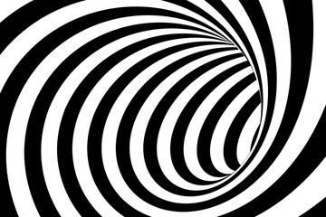 Black and White Swirling Lines Tunnel Abstract Background