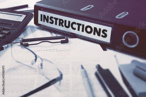 Fotografie, Obraz  Office folder with inscription Instructions.