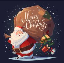 Santa Drops Gifts. Christmas Greeting Card \ Background \ Poster. Vector Illustration.
