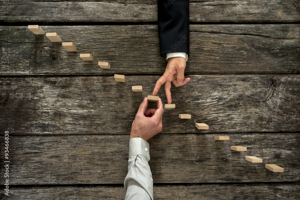 Fototapeta Conceptual image of business partnership and support