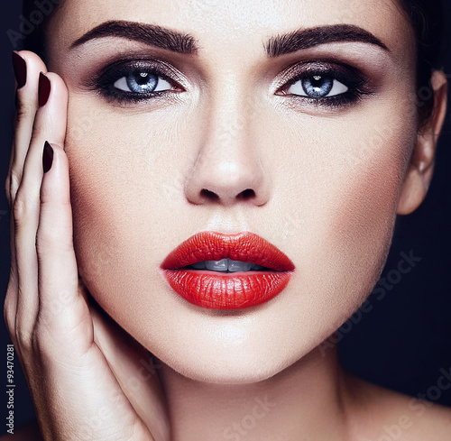 sensual glamour portrait of beautiful  woman model lady with fresh daily makeup Poster