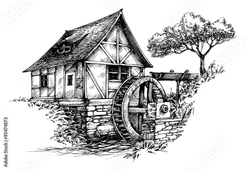 Carta da parati Old water mill sketch