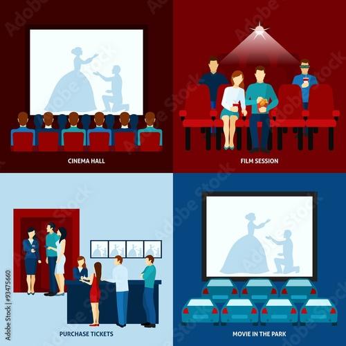 Photo  Cinema movie 4 flat icons square