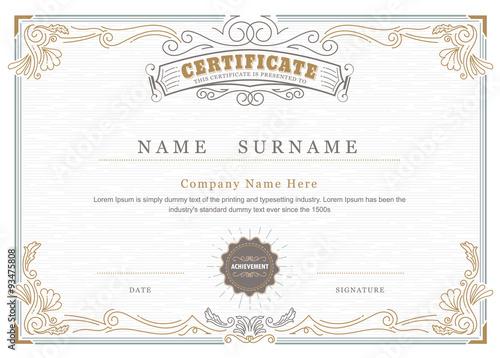 Obraz Achievement certificate elegant flourishes antique frame vintage - fototapety do salonu