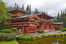 Byodo-In Temple With The Koolau Mountains In The Valley Of The Temples On Oahu, Hawaii, USA.