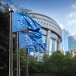Leinwanddruck Bild - European Union flags in front of the Berlaymont