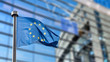 canvas print picture - European Union flag against European Parliament