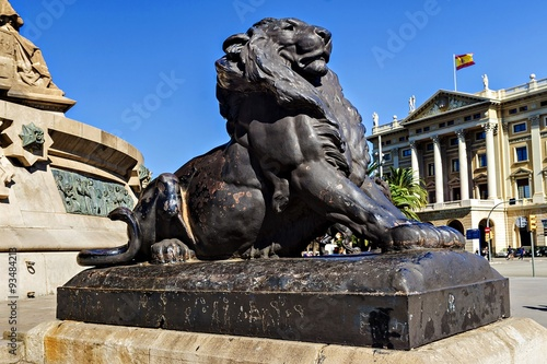 Poster Artistiek mon. Lion - an element of the monument to Christopher Columbus at the