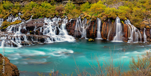 obraz lub plakat Panorama of the Hraunfossar falls in Iceland