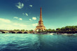 canvas print picture Seine in Paris with Eiffel tower in morning time