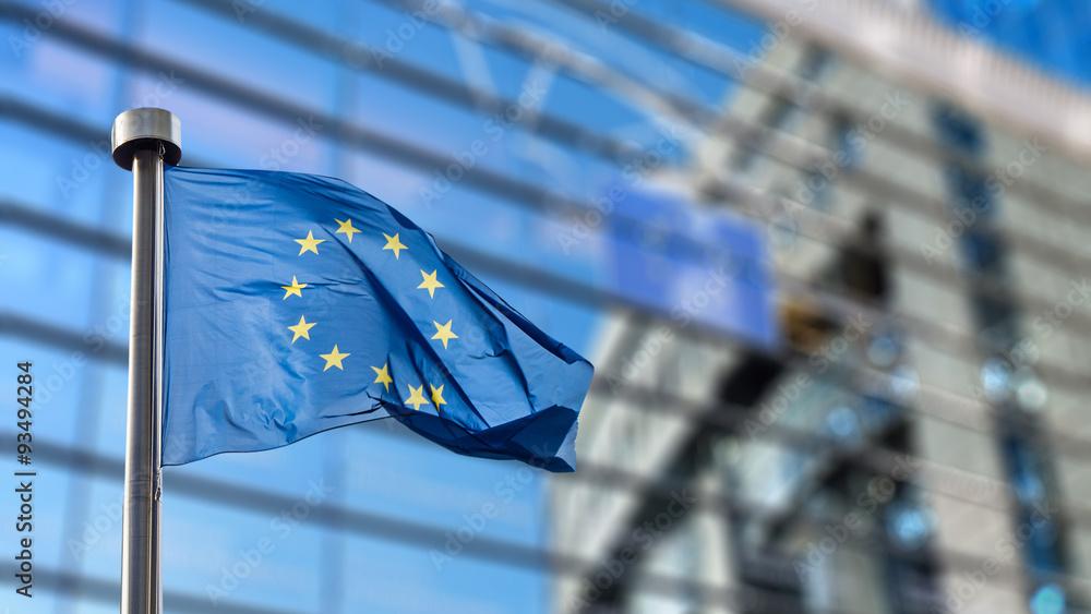 Fototapeta European Union flag against European Parliament