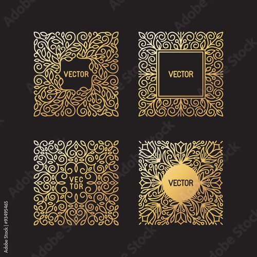 Fototapety, obrazy: Vector set of linear frames and floral backgrounds with copy spa
