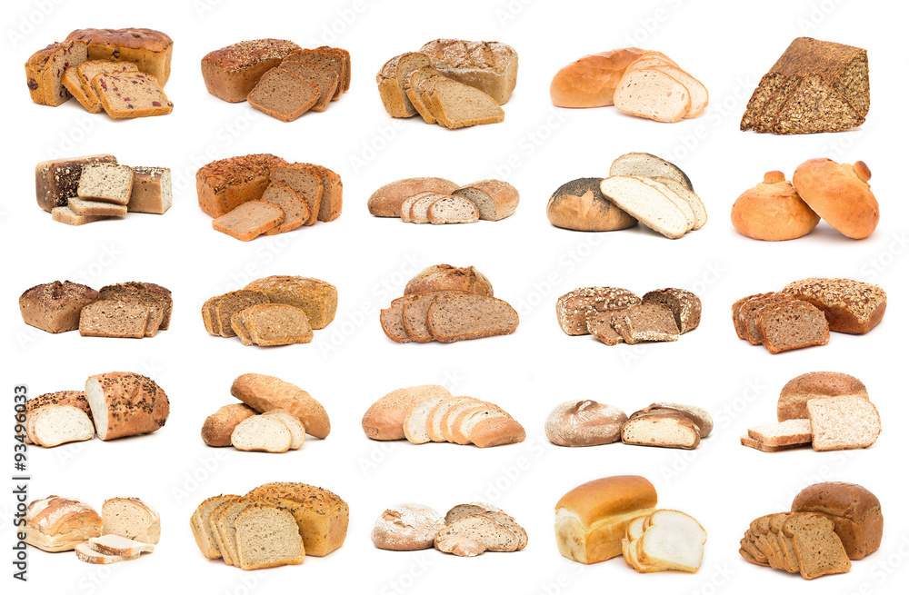 Collection of various bread. Isolated over white background