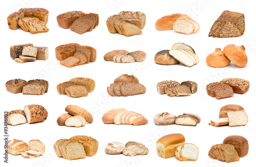 Plakat  Collection of various bread. Isolated over white background