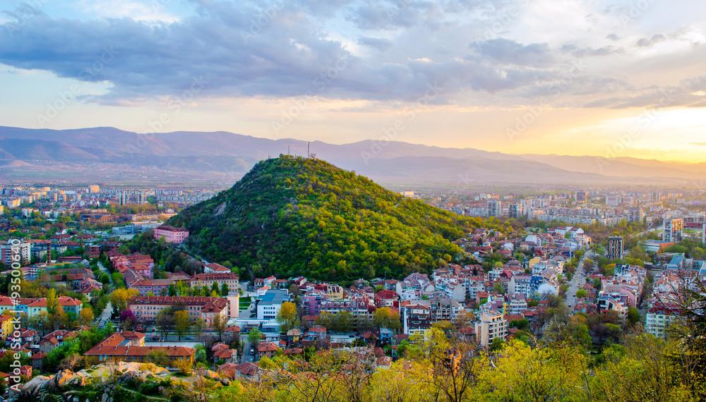 Fototapety, obrazy: sunset over bulgarian city plovdiv