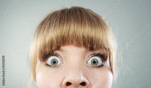 Photo  Scared woman with eyes wide open.