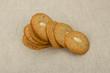 Homemade macaroons round on linen napkins