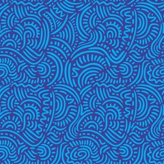 Blue Doodle Lines Seamless Pattern