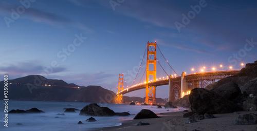 Keuken foto achterwand San Francisco Golden-Gate Bridge at Dusk. Marshall's Beach, San Francisco