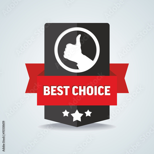 Fotografía  Best choice badge with red ribbon. Vector illustration.