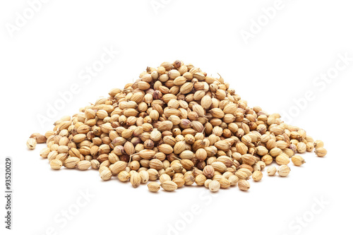Fototapeta Pile of Organic Dried coriander seeds (Coriandrum sativum) isolated on white background. obraz