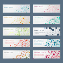 Abstract Geometric DNA Vector Banners
