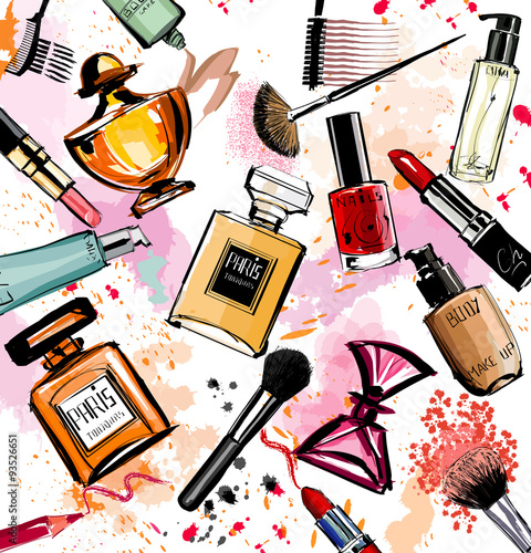 Photo sur Toile Art Studio Watercolor cosmetics and perfumes collection