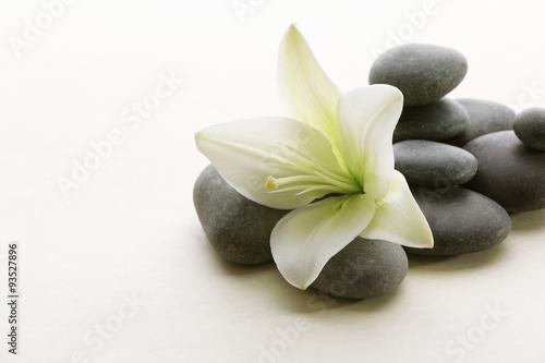 Fototapeta Spa stones with flower isolated on white obraz na płótnie