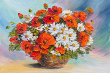 Oil Painting Still Life, Abstract Watercolor Bouquet Of Poppies And Daisies