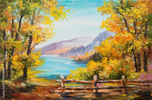 Photo sur Aluminium Orange Oil painting landscape - colorful autumn forest, mountain lake, impressionism