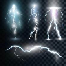 Set Isolated Realistic Lightnings With Transparency For Design
