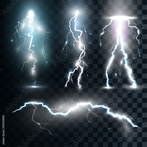Fotomural Set isolated realistic lightnings with transparency for design