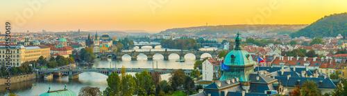Poster Prague Aerial view of cityscape of Prague, Czech Republic.