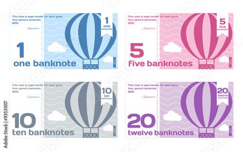 Fotografía  Vector Abstract Cute Color Banknotes Set