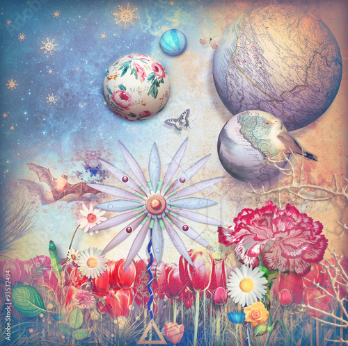 Recess Fitting Imagination Fairytales field with colored flowers series